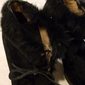 COACH real fur-lined detail booties 9.5